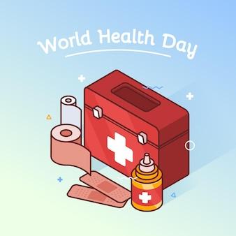 Ilustración del día mundial de la salud con botiquín de primeros auxilios