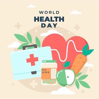 Ilustración del día mundial de la salud con corazón y botiquín de primeros auxilios