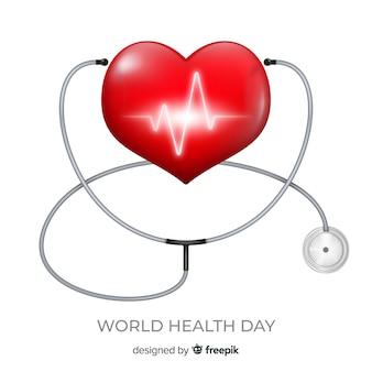 Ilustración del día mundial de la salud con corazón y estetoscopio