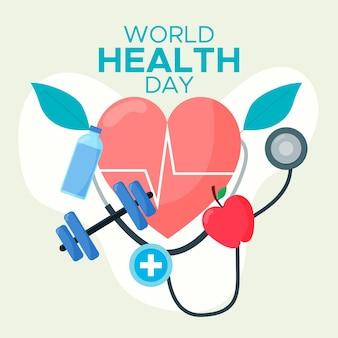 Ilustración del día mundial de la salud con corazón y mancuernas