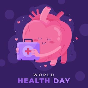 Ilustración del día mundial de la salud con corazón
