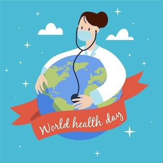 Ilustración del día mundial de la salud con doctora consultando el planeta