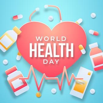 Ilustración del día mundial de la salud en estilo de papel con corazón y pastillas