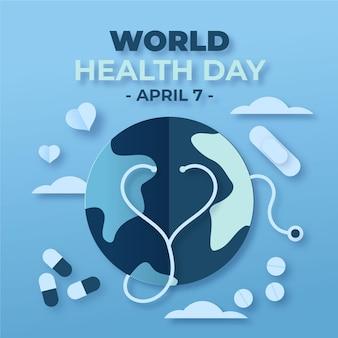 Ilustración del día mundial de la salud en estilo papel