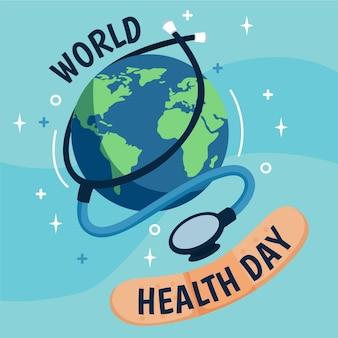Ilustración del día mundial de la salud con planeta y estetoscopio