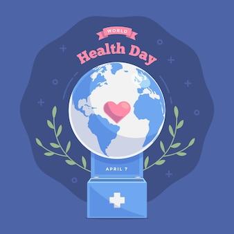 Ilustración del día mundial de la salud con planeta