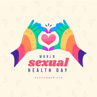 Ilustración del día mundial de la salud sexual con manos de arco iris