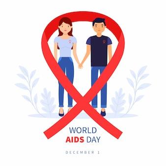 Ilustración del día mundial del sida en diseño plano con cinta roja