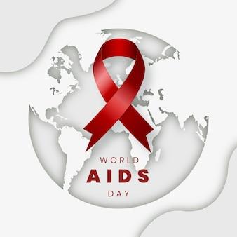 Ilustración del día mundial del sida en estilo de papel