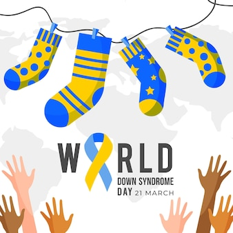 Ilustración del día mundial del síndrome de down con calcetines y manos