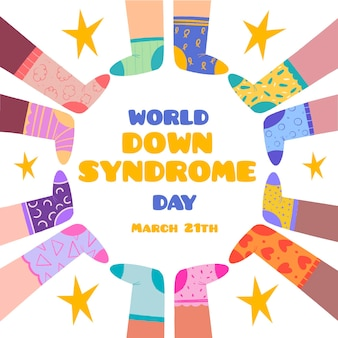 Ilustración del día mundial del síndrome de down con niños con calcetines