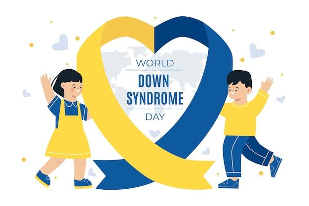 Ilustración del día mundial del síndrome de down con niños saludando