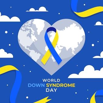 Ilustración del día mundial del síndrome de down con planeta y cinta