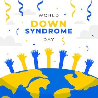Ilustración del día mundial del síndrome de down con planeta y manos