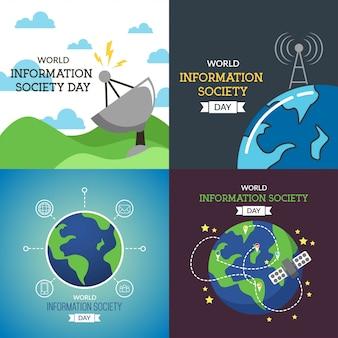 Ilustración del día mundial de la sociedad de la información