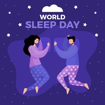 Ilustración del día mundial del sueño con gente durmiendo vector gratuito