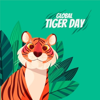 Ilustración del día mundial del tigre de dibujos animados