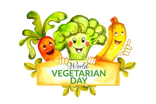 Ilustración del día mundial del vegetariano en acuarela
