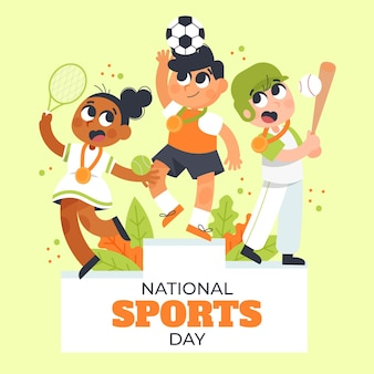 Ilustración del día nacional de los deportes de indonesia de dibujos animados