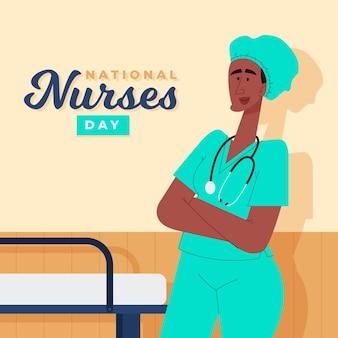 Ilustración del día nacional de las enfermeras de dibujos animados