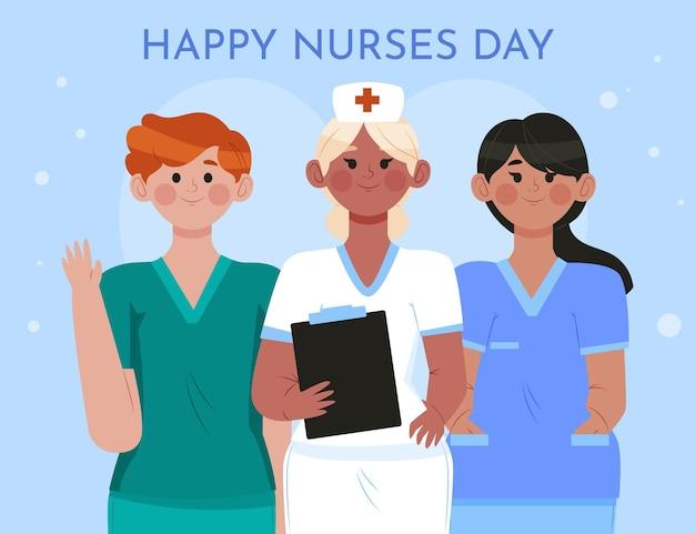 Ilustración del día nacional de las enfermeras planas orgánicas