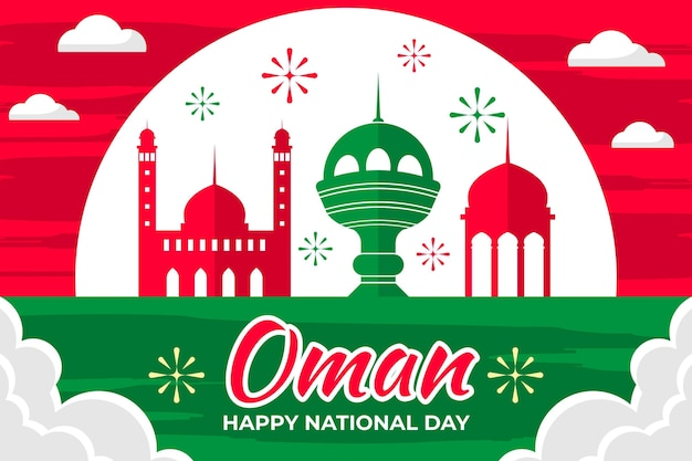 Ilustración del día nacional de omán con fuegos artificiales y monumentos
