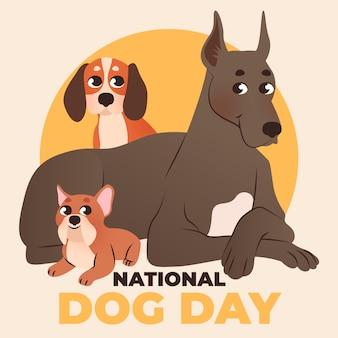 Ilustración del día nacional del perro de dibujos animados