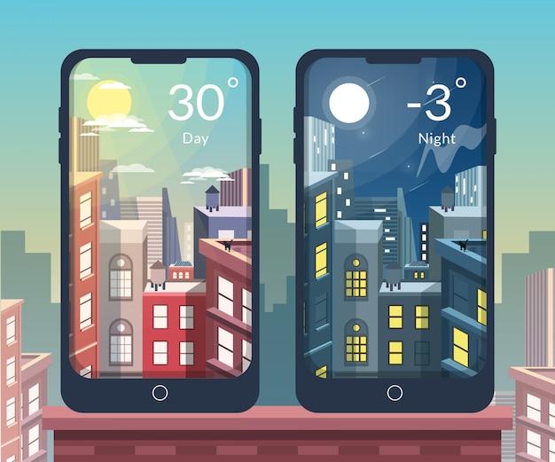 Ilustración de día y noche de la ciudad para la aplicación móvil meteorológica