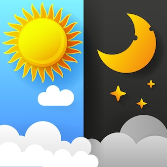 Ilustración del día y de la noche. día noche concepto, sol y luna