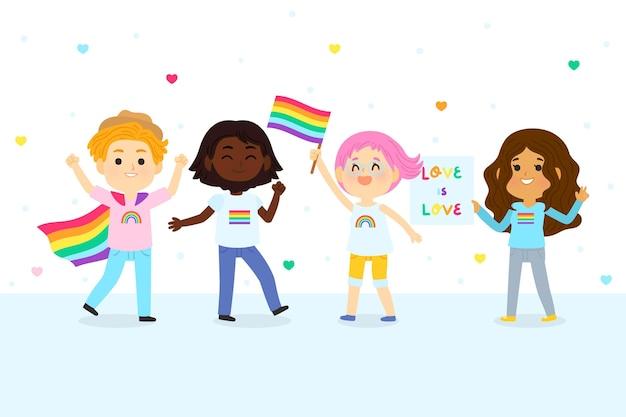 Ilustración del día del orgullo de dibujos animados