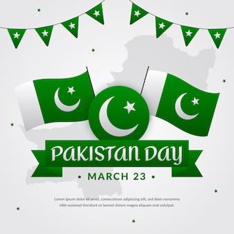 Ilustración del día de pakistán con banderas y guirnaldas