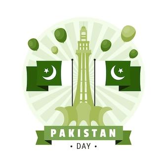Ilustración del día de pakistán con banderas y monumento de minar-e-pakistán
