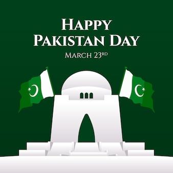 Ilustración del día de pakistán degradado con edificio y banderas