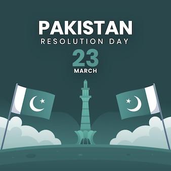 Ilustración del día de pakistán degradado con mezquita badshahi y banderas
