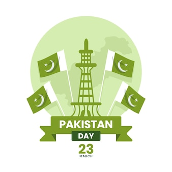 Ilustración del día de pakistán con mezquita badshahi y banderas