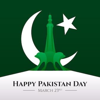 Ilustración del día de pakistán con mezquita badshahi