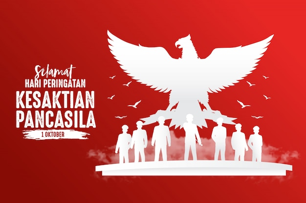 Ilustración del día de pancasila de vacaciones en indonesia.