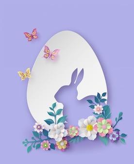 Ilustración del día de pascua con huevo y conejo.