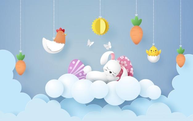 Ilustración del día de pascua con huevo y conejo,