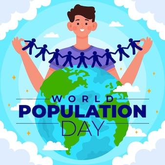 Ilustración del día de la población mundial plana orgánica