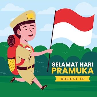Ilustración del día de pramuka
