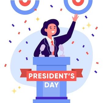 Ilustración del día del presidente de diseño plano