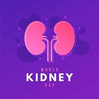 Ilustración del día del riñón degradado