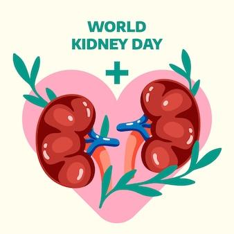 Ilustración del día del riñón dibujado a mano plana
