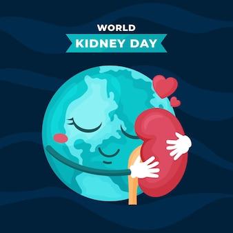 Ilustración del día del riñón con planeta y amor.