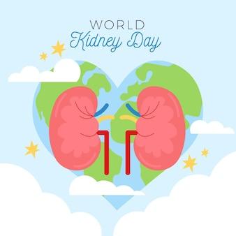 Ilustración del día del riñón plano