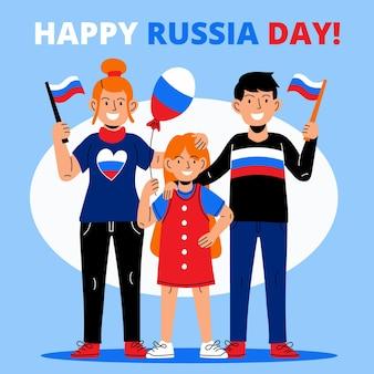 Ilustración del día de rusia de dibujos animados