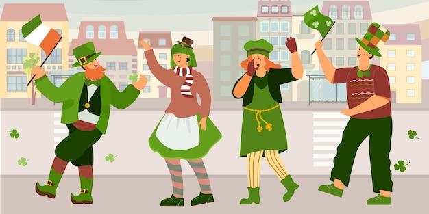 Ilustración del día de san patricio con celebración callejera