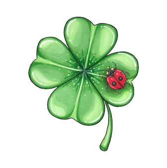 Ilustración de un día de san patricio, un trébol verde y una mariquita