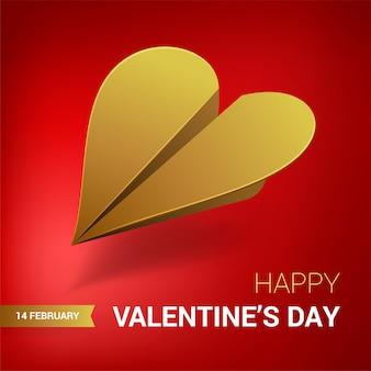 Ilustración del día de san valentín avión de papel dorado en forma de corazón.